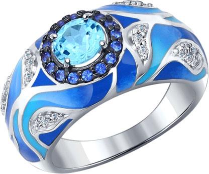 Серебряное кольцо SOKOLOV 92011191_s c эмалью, топазом, фианитом