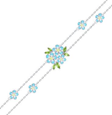 Серебряный браслет SOKOLOV 92050109_s c эмалью, фианитом, хризолитом