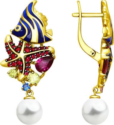 Фото «Серебряные серьги с подвесками SOKOLOV 93020868_s с фианитами, искусственным жемчугом»