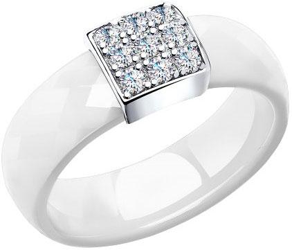 Керамическое кольцо SOKOLOV 94011613_s с фианитами