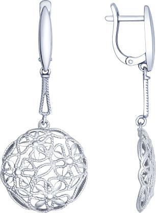 Серебряные серьги круглые SOKOLOV 94022374_s — купить в AllTime.ru — фото
