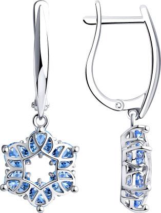 Серебряные серьги с подвесками SOKOLOV 94023926_s с фианитами — купить в AllTime.ru — фото