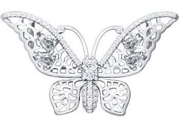 Броши SOKOLOV 94040074_s серебряная брошь в виде бабочки sokolov