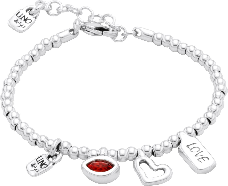 unode50 серебристый браслет i m waiting 4 u с красными кристаллами из коллекции my luck unode50 Браслеты UNOde50 PUL1852ROJMTL