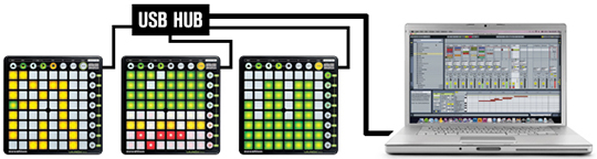 Подключение до 6 модулей Launchpad Novation S одновременно