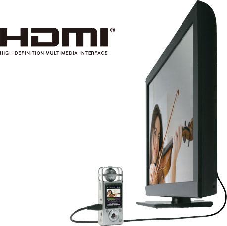 Подключение видеорекордера ZOOM Q2HD к телевизору HD через порт HDMI