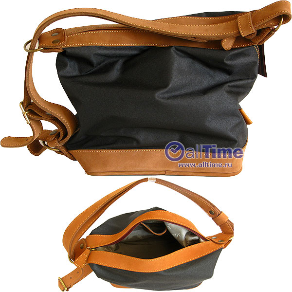 Женская сумка - рюкзак.  Внутри: одно отделение, карман на молнии и...