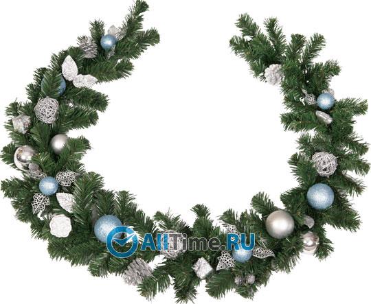 Хвойное украшение Гирлянда (l=180 см, декор сине-серебр)