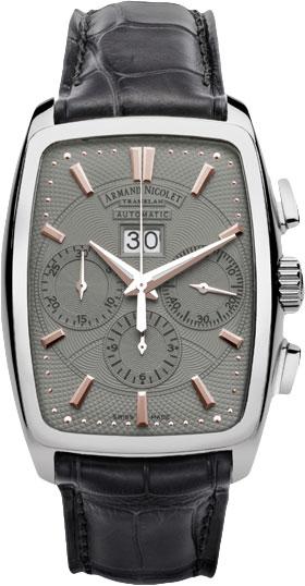 Фото «Швейцарские механические наручные часы Armand Nicolet 9638A-GS-P968GR3 с хронографом»