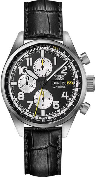 Мужские швейцарские механические наручные часы Aviator V.4.26.0.175.4 с хронографом