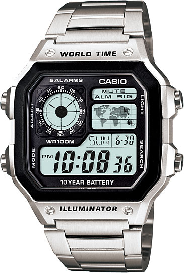 Мужские часы Casio AE-1200WHD-1A часы casio collection 56735 ae 1200whd 1a grey page 11