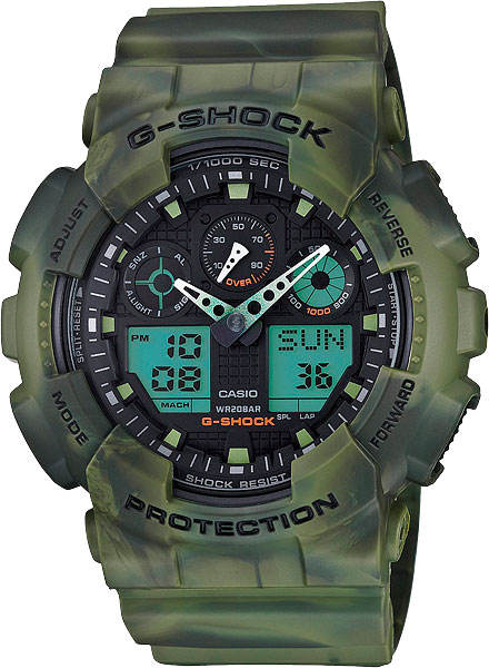 Мужские часы Casio GA-100MM-3A casio g shock g classic ga 110cm 3a