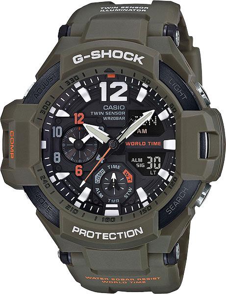 Мужские часы Casio GA-1100KH-3A casio g shock ga 1100kh 3a