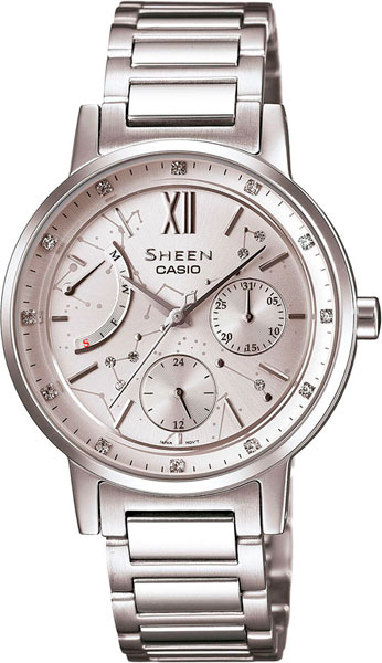 Женские часы Casio SHE-3028D-7A casio sheen multi hand shn 3013d 7a
