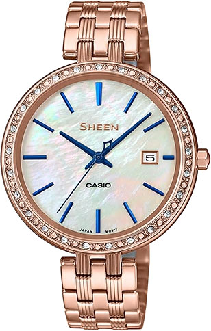 цена Женские часы Casio SHE-4052PG-2A онлайн в 2017 году