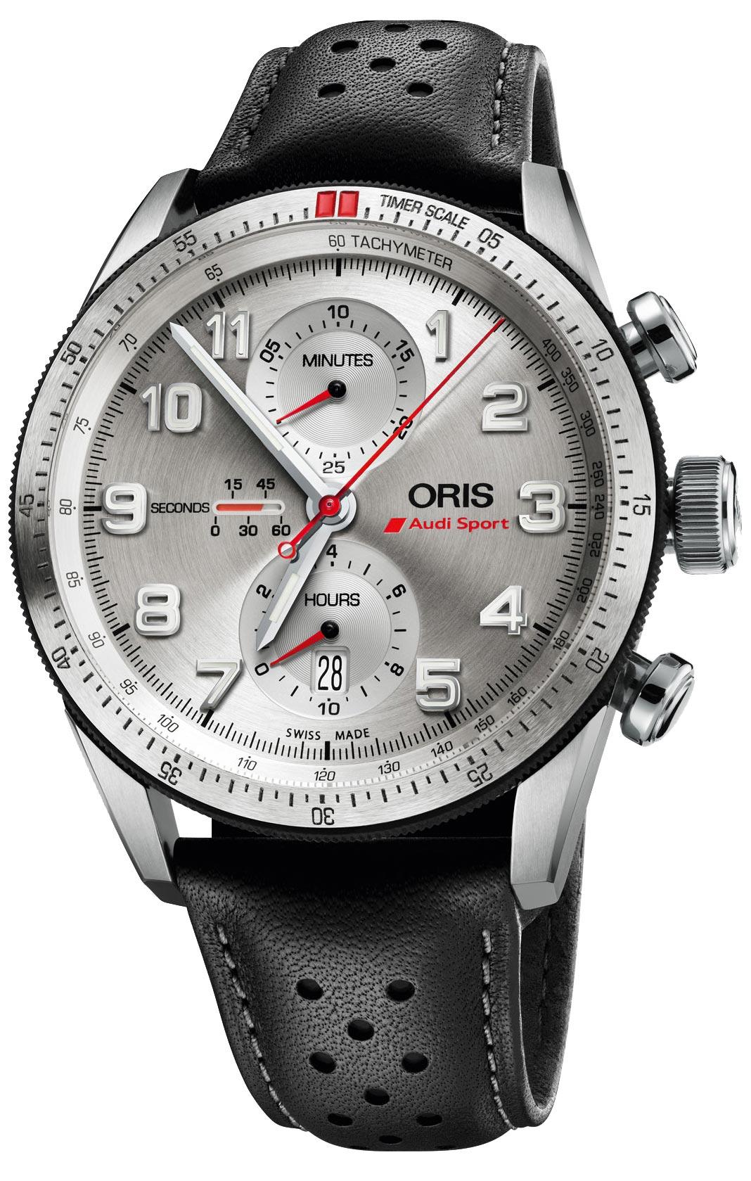 Мужские швейцарские механические титановые наручные часы Oris 774-7661-74-81-set с хронографом