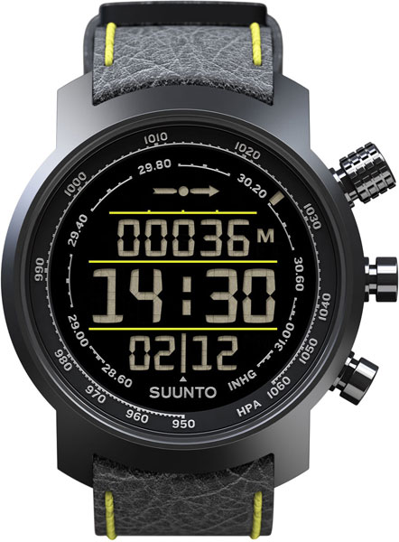 Мужские часы Suunto elementum-terra-n/black/yellow-leather suunto умные часы suunto elementum terra p black leather